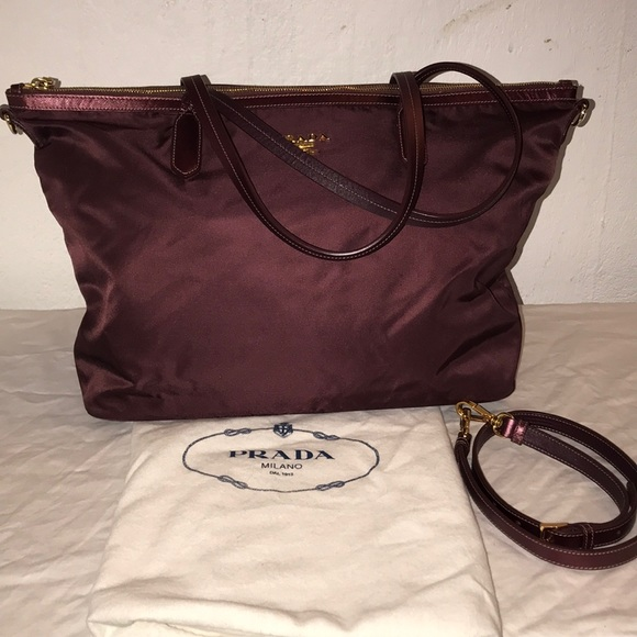 Prada Wine Nylon Tote Bag